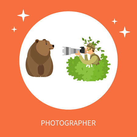 Photographer Hiding in Bushes Taking Photo of Bear