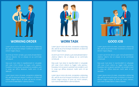 Working order and work task, good job. Boss giving instructions to employee, conversation between colleagues. Leader encouraging coworker, vector