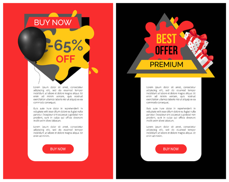 Best discount and products, 65 percent sale vector web site templates. Present boxes bought in shops and stores with promotion and propositions offers