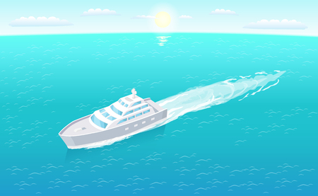 Sailboat leaves trace in sea or ocean, marine travelling vessel. Modern yacht sailing in deep blue waters on background of sun and sky vector isolated.