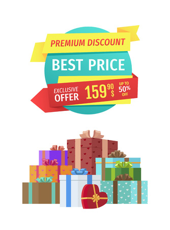 Premium quality for best price promo label. Exclusive offer with up to half-price discount banner with present boxes heap for holiday sellout event.