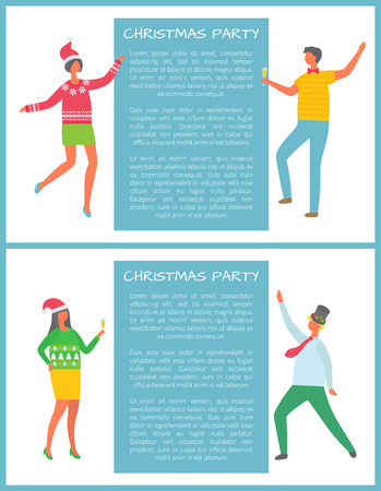 Christmas party celebration, man with glass of champagne, woman in Santa Claus hat dancing in cartoon style. Colleagues at corporative, text sample
