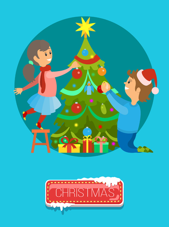 Merry Christmas poster, boy and girl decorating New Year tree on Xmas eve. Vector evergreen plant topped by stars, presents gifts under spruce, round circle