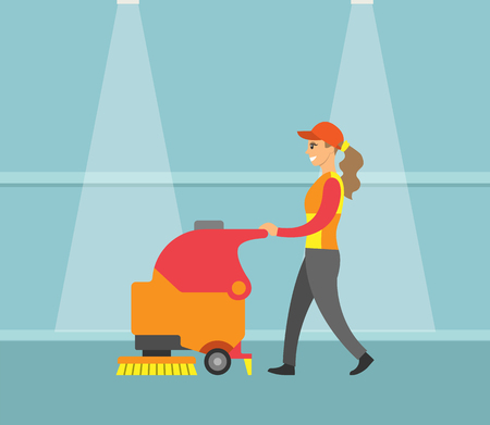 Cleaning service, machine with brush tool vector. Cleaner woman working, dusting floor and wearing uniform. Professional maid, walking along hall