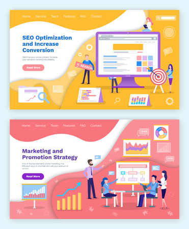 Seo optimization and marketing plan on whiteboard, promotion vector. People gathered on meeting, brainstorming and working on data, charts schemes