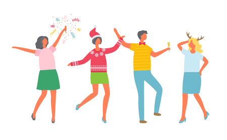 Christmas party, happy coworkers dancing at corporate fest, celebrating New Year and Xmas holiday. Vector cartoon style people with champagne, flapper