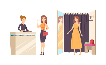 Shopping young female in changing room vector. Lady trying dress and person with gold shining ring, diamond and gem. Fashion and styling of girls Stock Illustratie