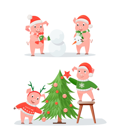 New Year Pig Couples, Christmas Tree and Snowman Illustration