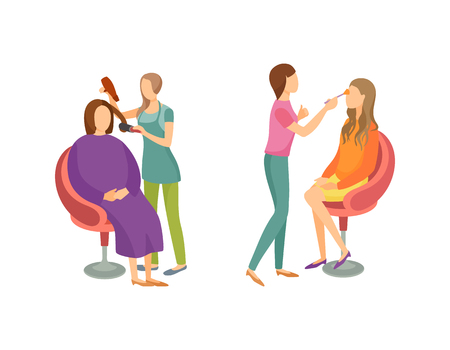 Spa salon hair styling and stylists working with clients. Isolated icons set vector treatment, making new haircuts and hairstyles of ladies in chairs