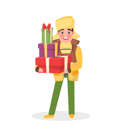 Man in warm winter cloth with Christmas presents in hands. Packed gift boxes in wrapping paper, guy going to make surprise. Male in hat and coat vector Standard-Bild - 126844227