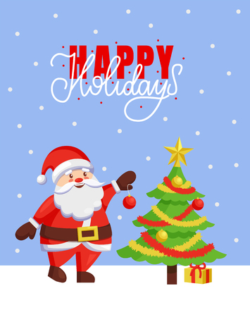 Happy Holidays and Merry Christmas 2019 poster with Santa Claus. New Year tree decoration with balls, tinsel and star, best wishes father Frost, greeting card