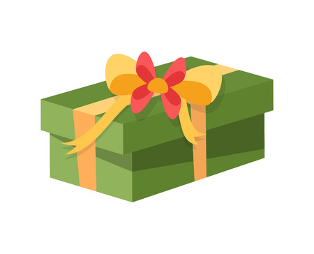 Gift box decorated with bow made of tape ribbon vector. Square container box with surprise, holiday tradition of exchanging presents. Floral decor