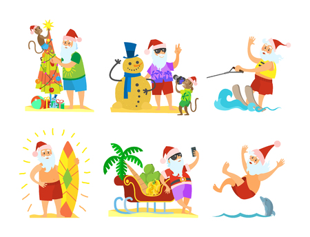 Santa Claus decorating umbrella, snowman and monkey, sleigh full of fruits, skiing on water, diving with dolphins, New Year in hot countries, vector