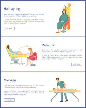 Hair styling and hairstyle change of woman client. Set of posters with text sample, massage of back, massage and pedicurist polishing nails vector