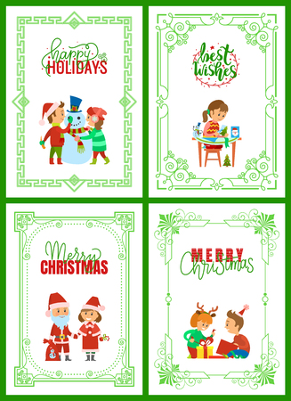 Happy holidays, merry Christmas greeting cards text vector. Santa Claus with presents in sack, children unpacking presents. Girl making handmade gifts  イラスト・ベクター素材