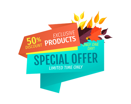 Special offer natural products only one day. Buy now and get reduction of price. Sellout promotion autumnal clearance for shoppers clients vector