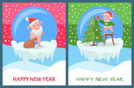 Happy New Year, Pig Decorating Christmas Tree Illustration