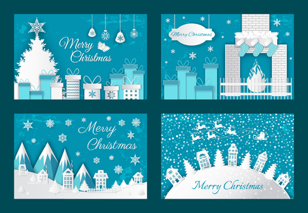 Merry Christmas origami postcards abstract fire in fireplace, presents, bows in gift boxes. New Year paper cut greeting card with houses and Xmas trees Illustration