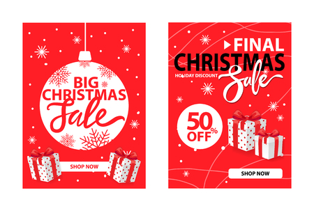 Xmas clearance cover design vector on red. Christmas final sale holiday discount with wrapped gift boxes. 50 percent off, half price discount poster,