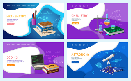 Mathematics algebra geometry and astronomy classes vector. Coding discipline in university, studies and subjects chemistry reactions and programming