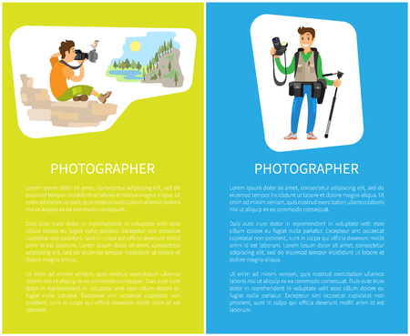 Photographers taking picture with photo equipment. Photojournalist and reporter sitting on stones making photo of mountain landscape vector posters text Иллюстрация