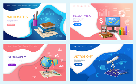 School education, mathematics and economics, geography and astronomy. Textbooks and stationery, graphics and globe, telescope vector illustrations Çizim