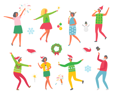 Christmas party people and symbolic winter images isolated icons set on white background. Wreaths with mistletoe and spruce evergreen tree. Man and woman dancing together