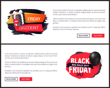 Big sale on Black Friday, tags or advertising badges with info about price reduction. Promo labels with balloon and gifts vector on online sites templates Illustration