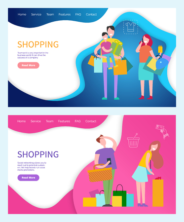 Shopping happy successful family parents and kids, packages and tired man and woman. Vector line art icons cart and cash signs, web page template with info  イラスト・ベクター素材