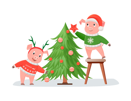 Pigs in Knitted Sweaters Decorating Christmas Tree