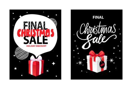 Final Christmas sale, holiday discounts and presents wrapped gift boxes on background of night black sky with stars. Vector total price off leaflets Ilustração