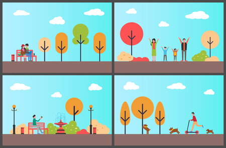 Autumn park man sitting on wooden bench fall season relaxation vector. Couple working on laptop, family spending happy days together, male on scooter Иллюстрация