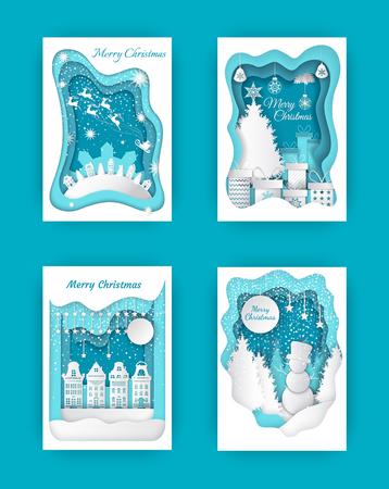 Merry Christmas Paper Cut, Snowman and Pine Wood Illusztráció