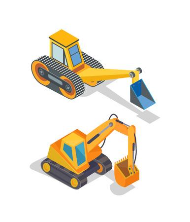 Icônes de machines industrielles d'excavatrice et de bulldozer Vecteurs