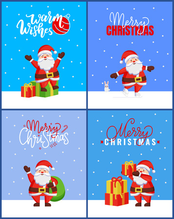 Merry Christmas Collection Cards with Happy Santa. Vector of cartoon Jack Frost sitting on gift boxes and spreading hands like sending us Warm Wishes