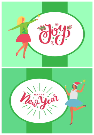 Joy and New Year party of dancing happy women vector. Mistletoe leaf decoration by font, wintertime event. Winter holiday eve festive celebration