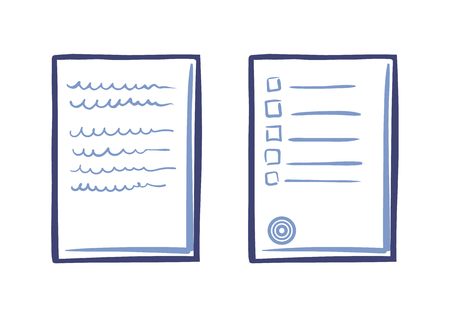 Tips or List on Sheet of Paper Contract Text Stamp Illustration