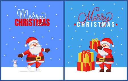 Merry Christmas greeting cards with Santa and bunny. Vector cartoon image of Jack Frost with hare helper. Joyful Father Christmas fold up gift boxes Illustration