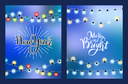 New Year merry and bright winter holiday card with garland made of light bulbs. Wintertime decorative electric torso with sparkling bubbles isolated on blue