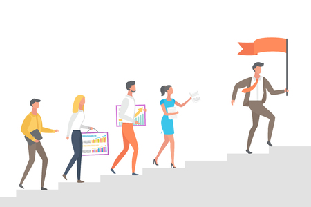People going upstairs, following leader boss with red flag in hands vector isolated. Cartoon characters with graphs and charts on board go to top, vector Banque d'images - 126844275