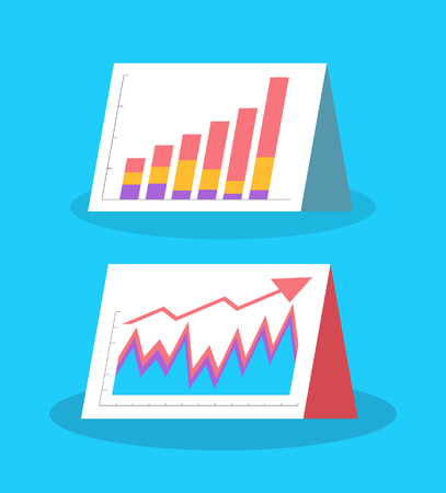 Infographics and flowcharts, visual information representation vector. Growing and dropping data visualization. Information on pages, schemes charts