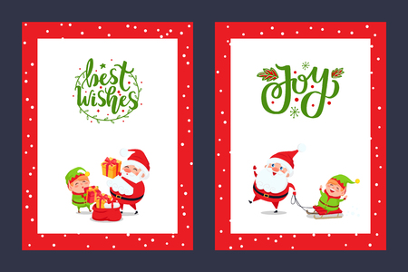 Happy Holidays greeting cards with Santa and Gift Boxes. Joyful Elf like sledding with Saint Nicholas. Vector New Year cartoon characters isolated. Illustration