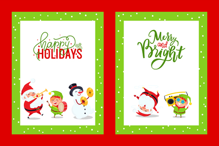 Holiday greeting cards with Santa, Snowman, Elf. Vector Merry Christmas postcards with Father Frost singing carols, listening boombox and dancing Illustration