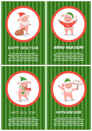 New Year Piglet Wearing Santa Claus Hat Greeting