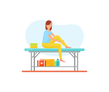 Massage self care and treatment of female isolated icon vector. Woman on table rubbing her legs with lotions and ointments to relieve pain in ankle