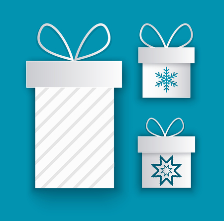 Greeting cards with wrapped gift boxes with snowflakes signs. Present packages decorated by bow, New Year and Christmas packs isolated on blue