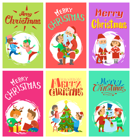 Merry Christmas wintertime activities, children writing letter to Santa, skating and telling wishes, open boxes, playing snowballs, making handmade gifts, vector