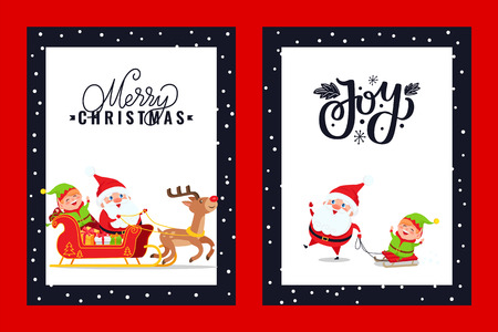 Holly Jolly greeting card with Santa, Deer, Elf. Vector illustrations of cartoon Claus and dwarf in carriage. Happy fairy tale creature riding sledge Illustration