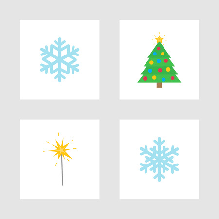 Christmas holiday winter symbols isolated icons vector. Snowflake ornament, bengal lights sign and pine tree decorated with toys ad baubles, garlands
