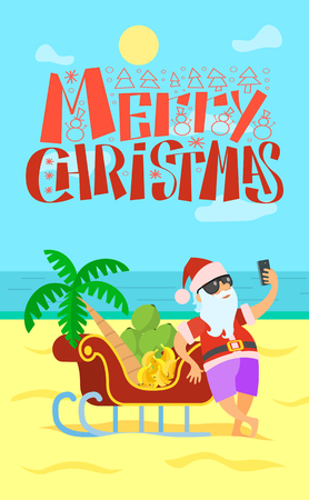 Merry Christmas, Santa Claus and sleigh full of bananas and grapes, palm tree. Vector New Year Character in tropical country at coastline, sand and seaview